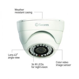 CCTV Cameras: Swann PRO-843 900 TV Night Vision Indoor Outdoor Dome CCTV Camera - Twin Pack