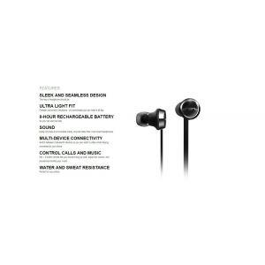 Headphones: SOL REPUBLIC Shadow Wireless Bluetooth Neckband Headphone Earphone Mic 8 Hr Battery - Black