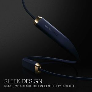 Headphones: SOL REPUBLIC Shadow Wireless Bluetooth Neckband Headphone Earphone Mic 8 Hr Battery - Navy