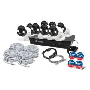 CCTV Systems: Swann 16 8580 NVR 16 Channel 2TB 4K CCTV Security System 8 x NHD-885MSFB Spotlight Heat Motion Cameras CCTV Kit