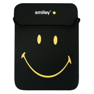 Laptop Accessories: Port Designs Smiley Series Reversible Netbook Tablet Skin 10 inch Black Yellow 140260