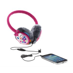 Full Size: KitSound Audio Kids On-Ear Earmuffs Built In Headphones iPod iPhone Pink Owl