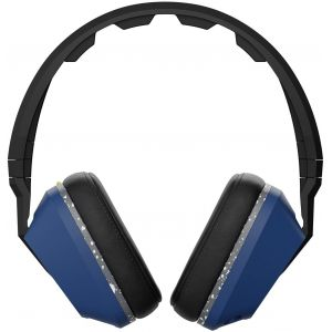 Headphones: SKULLCANDY CRUSHER Wired Headphones Mic Remote Supreme Sound Bass control - Blue/Grey