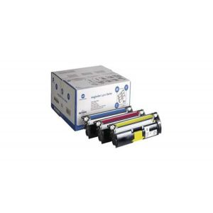 Genuine Konica Minolta Laser Printer Toner Cartridge Kit Triple Pack - Cyan Magenta Yellow