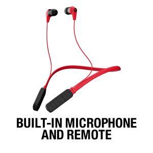 Headphones: SKULLCANDY INK'D Wireless Bluetooth In-Ear Headphones Mic Lightweight Upto 8 Hr Battery Life - Red/Black