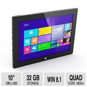HipStreet W10 Pro Windows 8.1 10 inch Tablet PC 32GB 2GB RAM Quad Core HDMI BT Black