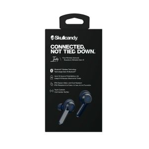 Headphones: SKULLCANDY INDY True Wireless Bluetooth Rechargeable Ear Air Pods Headphones Mic - Blue