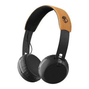Headphones: Skullcandy GRIND Wireless Headphones Headset Rechargeable Mic Aux 12Hr Battery - Black/Tan