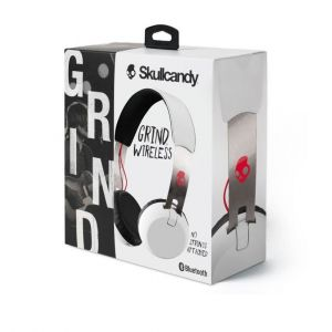 Headphones: Skullcandy GRIND Wireless Headphones Headset Rechargeable Mic Aux 12Hr Battery - White