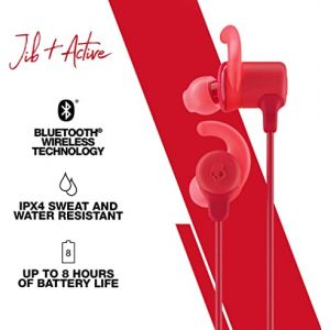 Headphones:  SKULLCANDY Jib+ Active Wireless Rechargeable Bluetooth Earphones 8H Battery Mic - Red