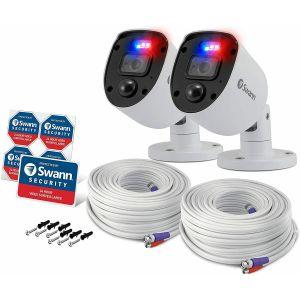 CCTV Cameras: Swann 1080SL Full HD 1080p Enforcer Bullet CCTV Camera Flashing Lights DVR 4680 - Twin Pack