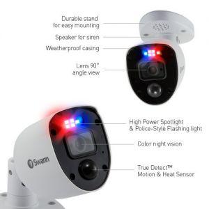 CCTV Cameras: Swann PRO-4KRL 4K Enforcer Bullet CCTV Camera Flashing Lights & Siren for DVR 5680