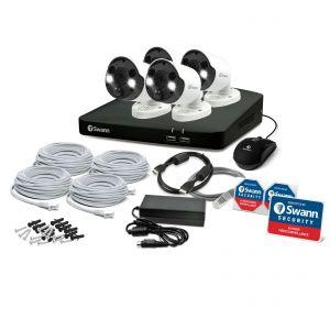 CCTV Systems: Swann NVR 8780 8 Channel 4K 2TB Recorder 4 x 887MSFB Spotlight Cameras CCTV Kit