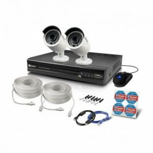 Swann NVR 7400 4 Channel 4MP CCTV DVR Recorder 1TB HDMI NHD-818 2x Camera kit